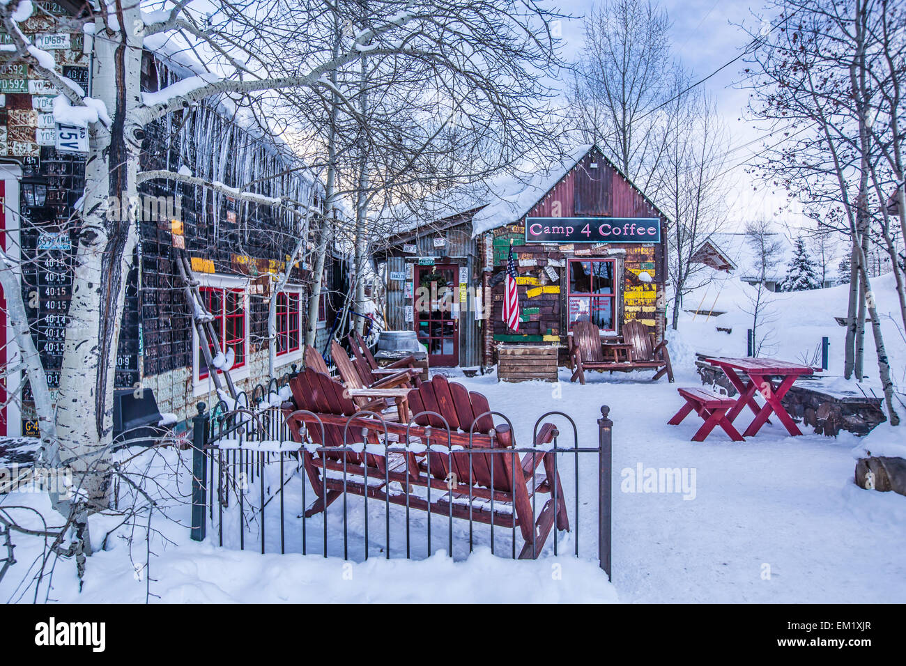 the town of crested butte colorado during winter stock photo