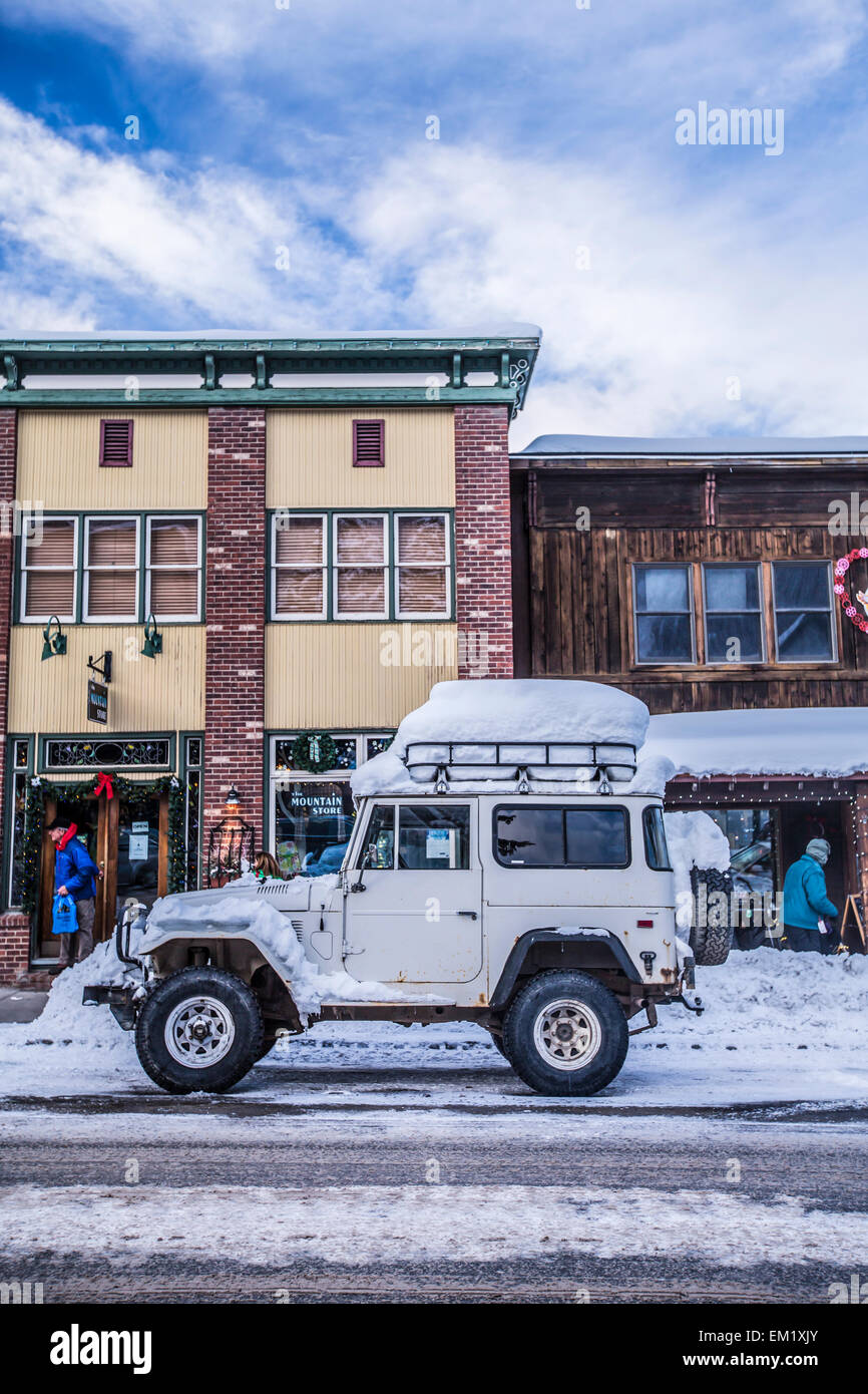 The town of Crested Butte, Colorado during the holidays. - Stock Image