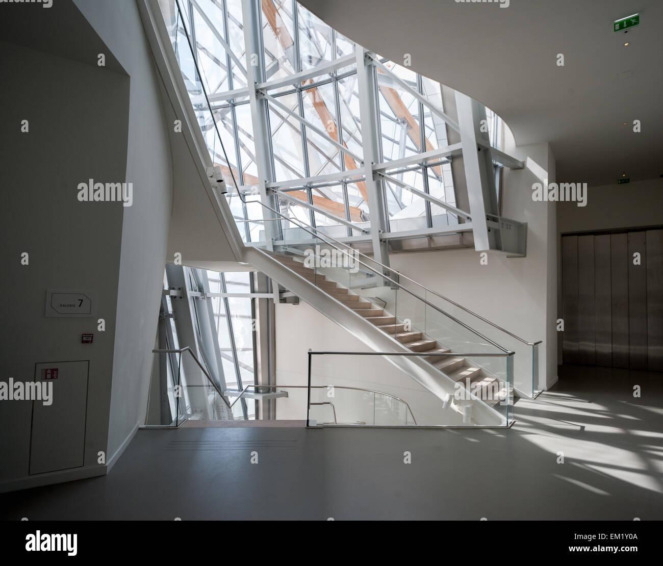 France, Paris, staircase of the Fondation Louis-Vuitton Stock Photo