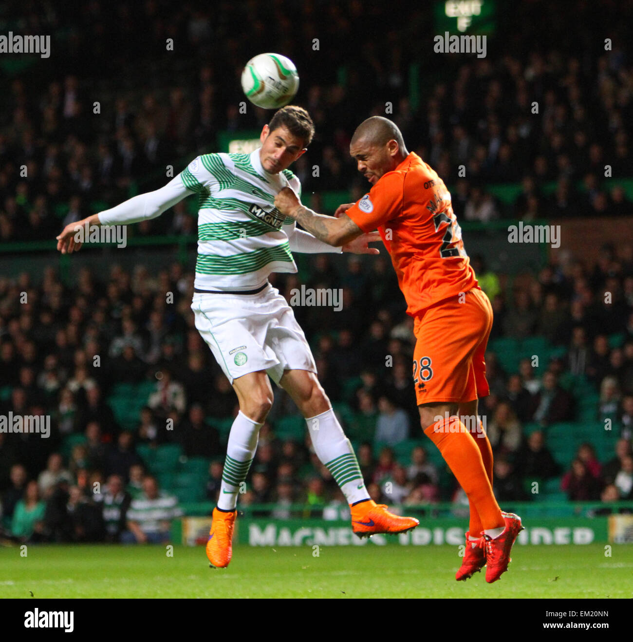 Glasgow, Scotland. 15th Apr, 2015. Scottish Premiership. Celtic versus Kilmarnock. Nir Bitton and Josh Magennis - Stock Image