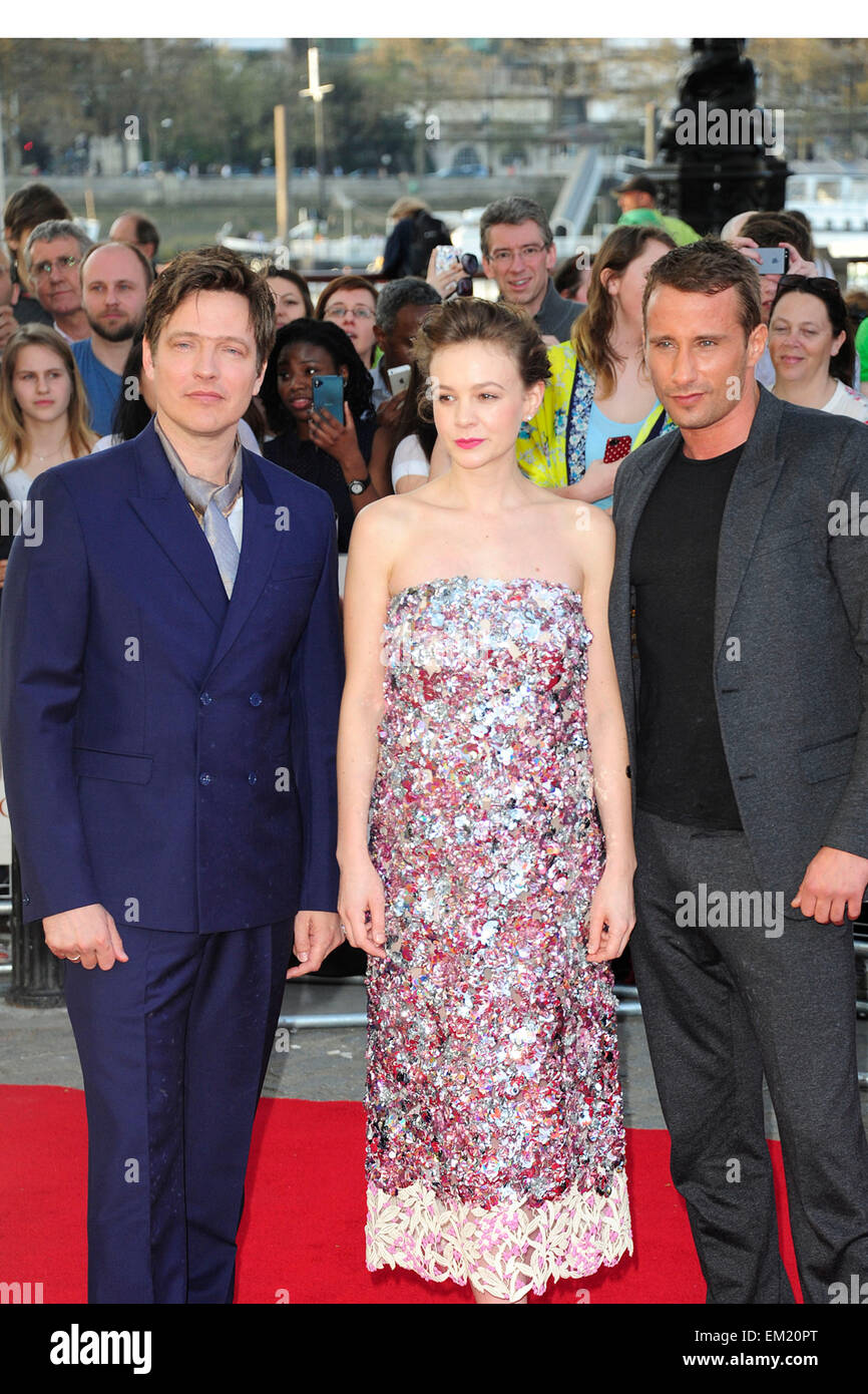 London, UK. 15th Apr, 2015. Thomas Vinterberg,Carey Mulligan & Matthias Schoenaerts  attend Far From The Madding - Stock Image
