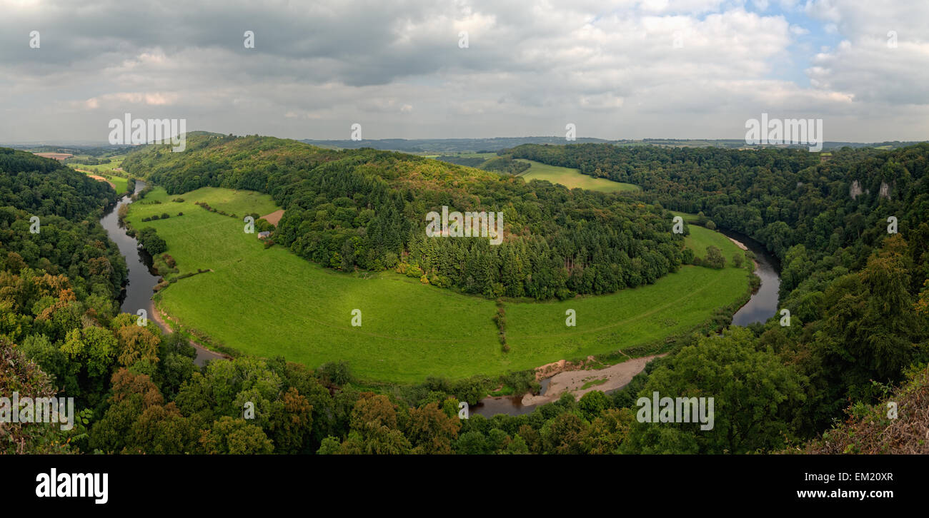 River Wye from Symonds Yat Rock, Herefordshire, England, UK (panorama) - Stock Image
