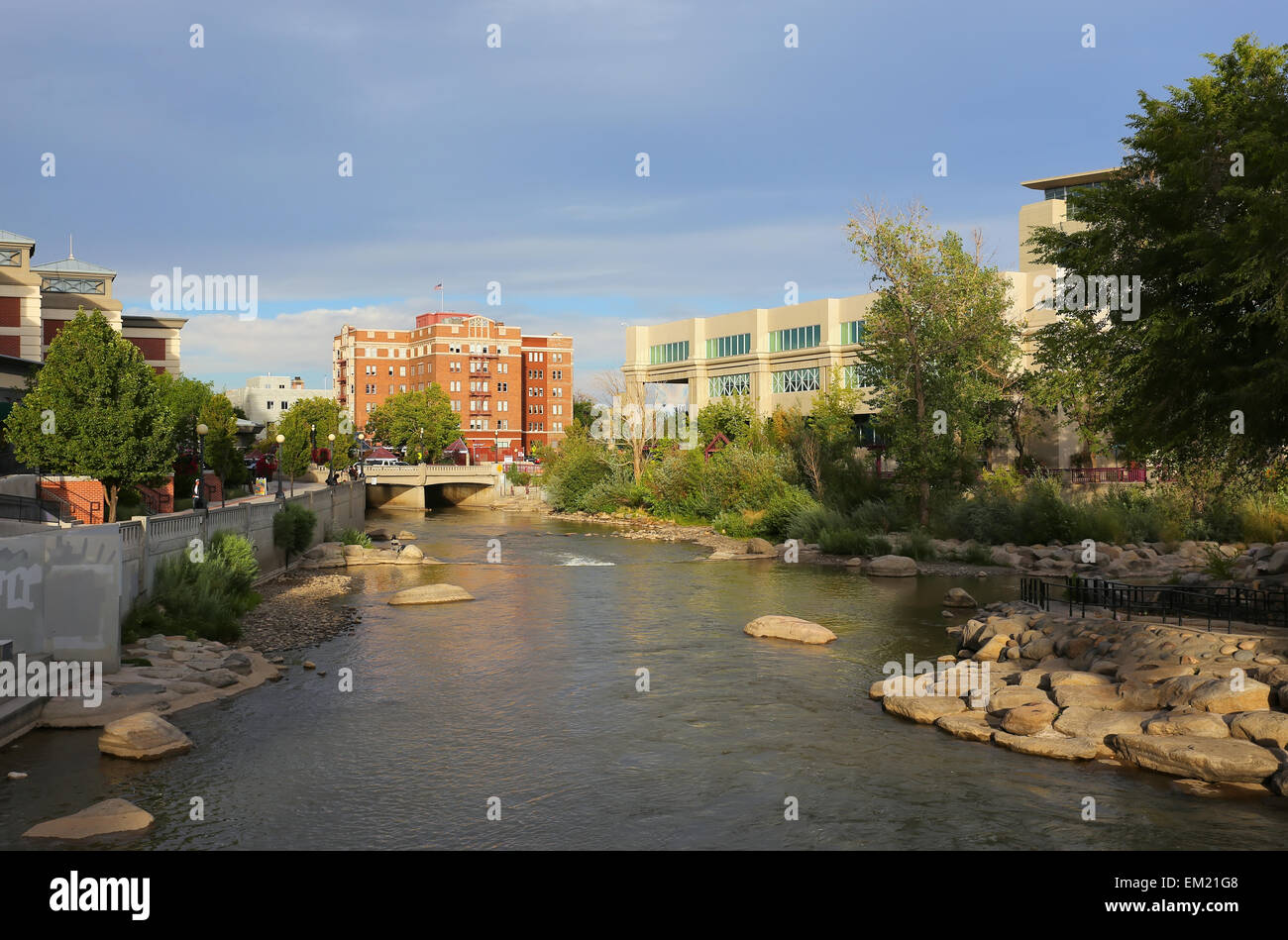 Truckee river in downtown Reno, Nevada, USA - Stock Image