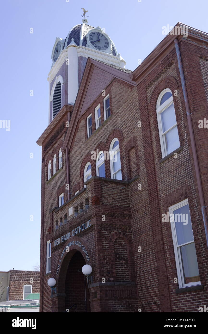 Red Bank, Middlesex County, New Jersey. Red Bank Catholic building, housing the fine and performing arts center - Stock Image