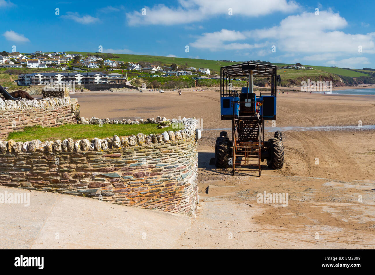 Sea tractor that links Burgh Island to Bigbury-on-Sea Devon England UK Europe - Stock Image