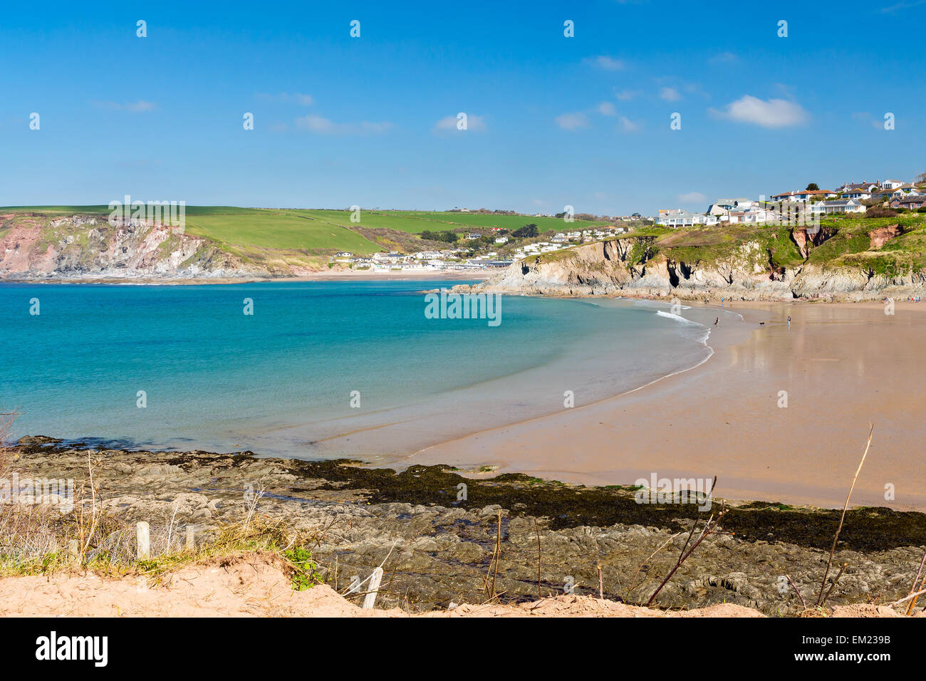 View towards Challaborough Bay from Burgh Island, South Hams Devon England UK Europe - Stock Image