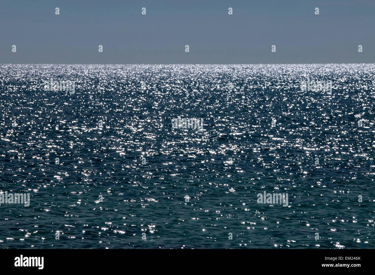 Atlantic Ocean sparkles along Sand Spur Beach, Bahia Honda State Park, Bahia Honda Key, Florida. - Stock Image
