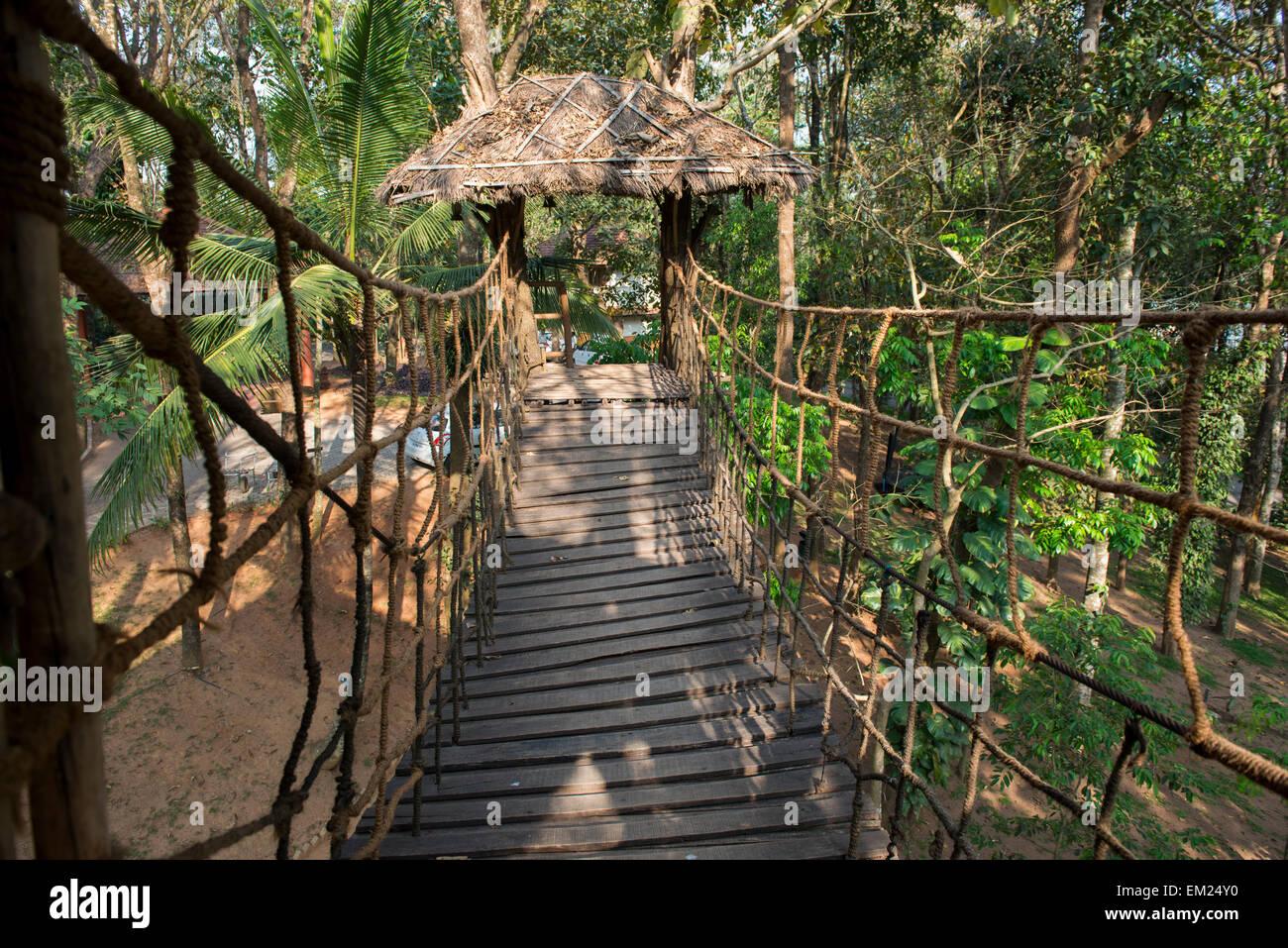 Treetop coffee shop at Greenwoods Resort in Kumily, Kerala India - Stock Image