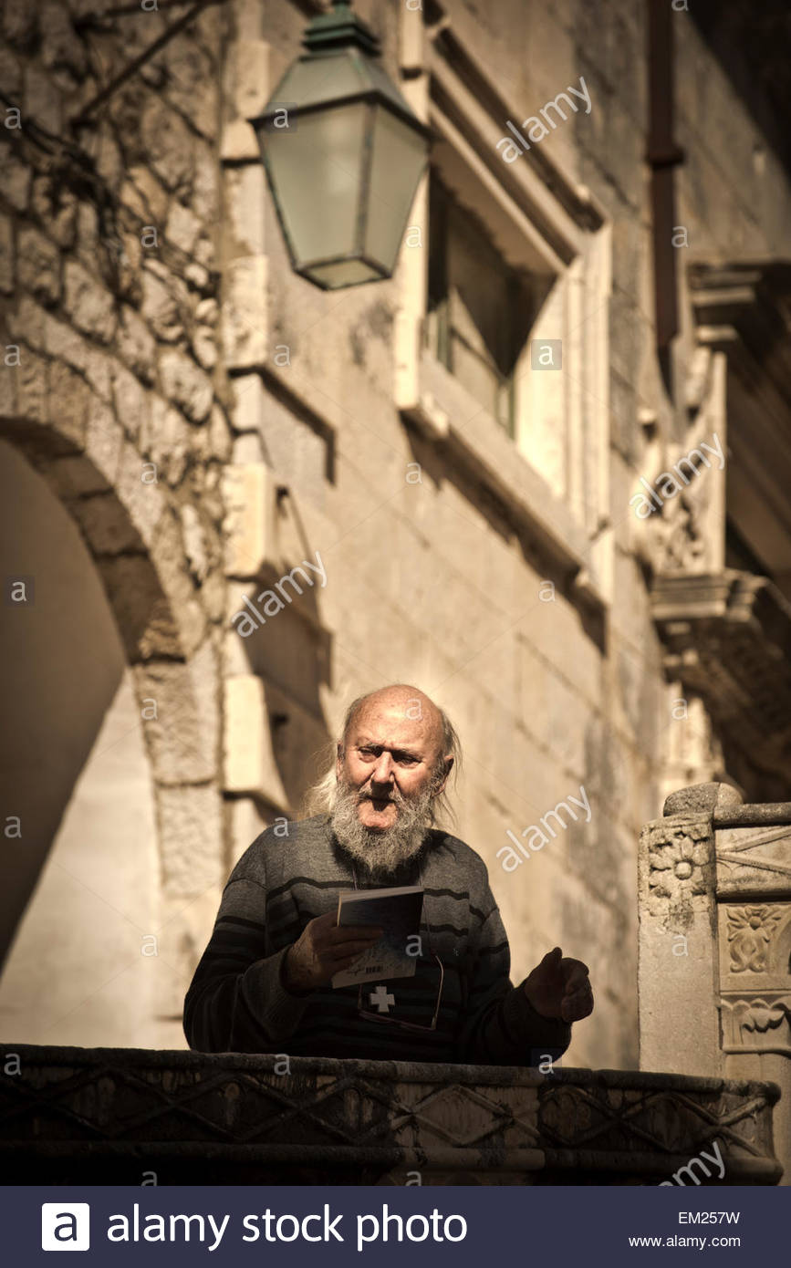 An old man on the streets of Dubrovnik, Croatia. - Stock Image