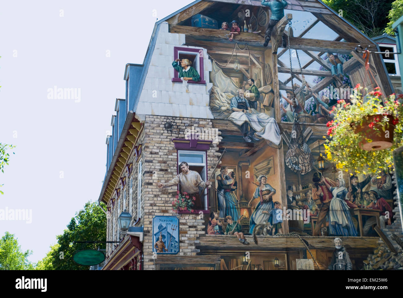 Mural On The Side Of A Building Quebec City Quebec Canada Stock