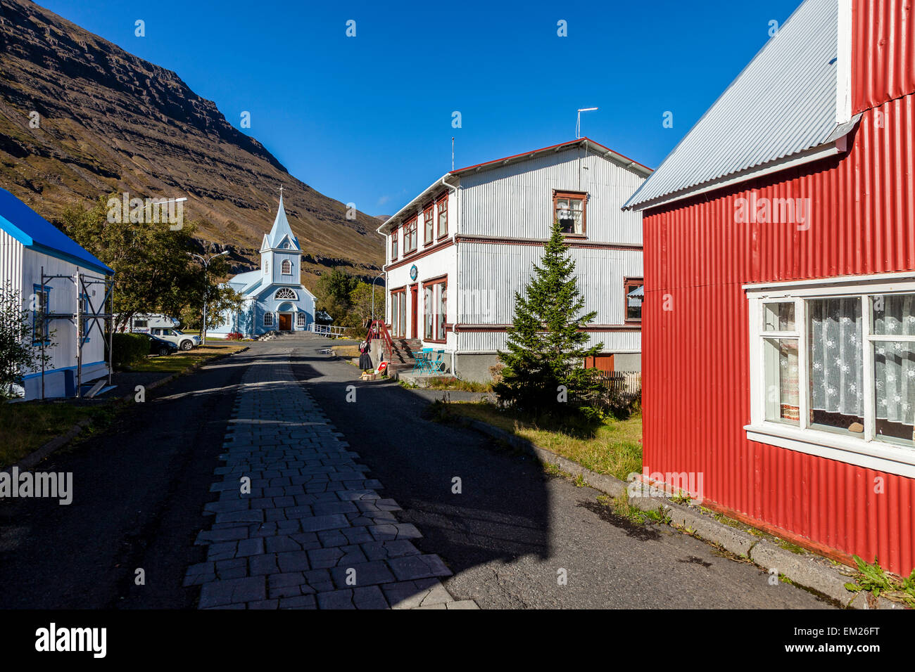 Street in Seydisfjordur, Iceland - Stock Image