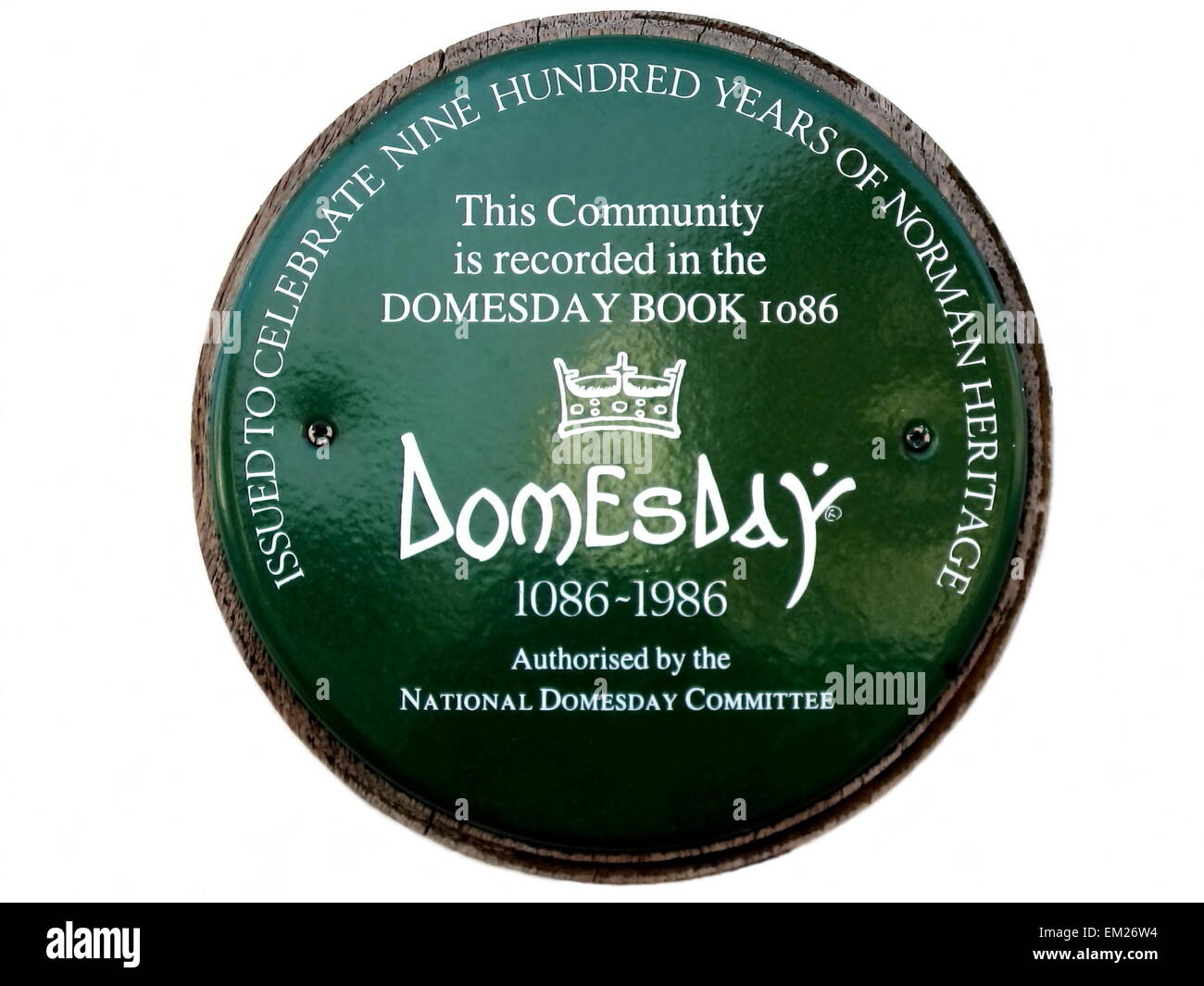 Plaque celebrating 900 years of Norman Heritage at Takely Essex, the community having been recorded in the Domesday - Stock Image