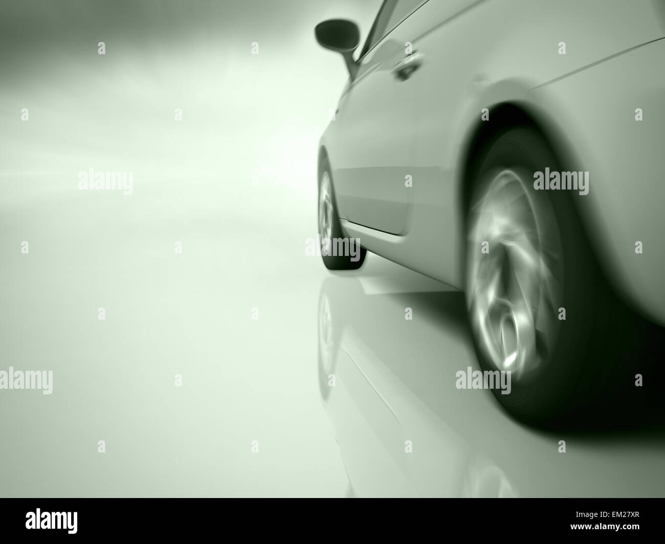 car running toward in motion blur background. - Stock Image