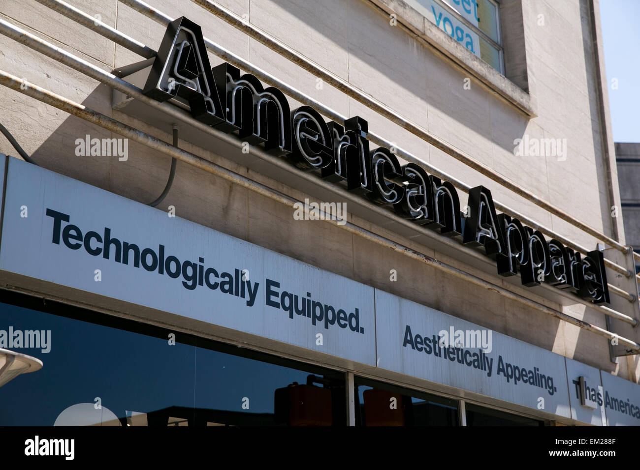 An exterior view of an American Apparel clothing retail store in Silver Spring, Maryland. - Stock Image