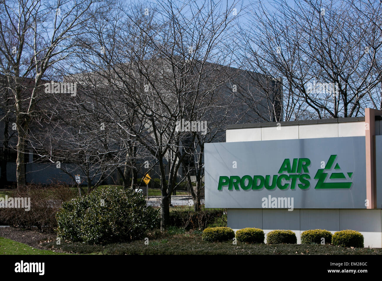 A logo sign outside of the headquarters of Air Products and Chemicals, Inc., in Allentown, Pennsylvania. - Stock Image