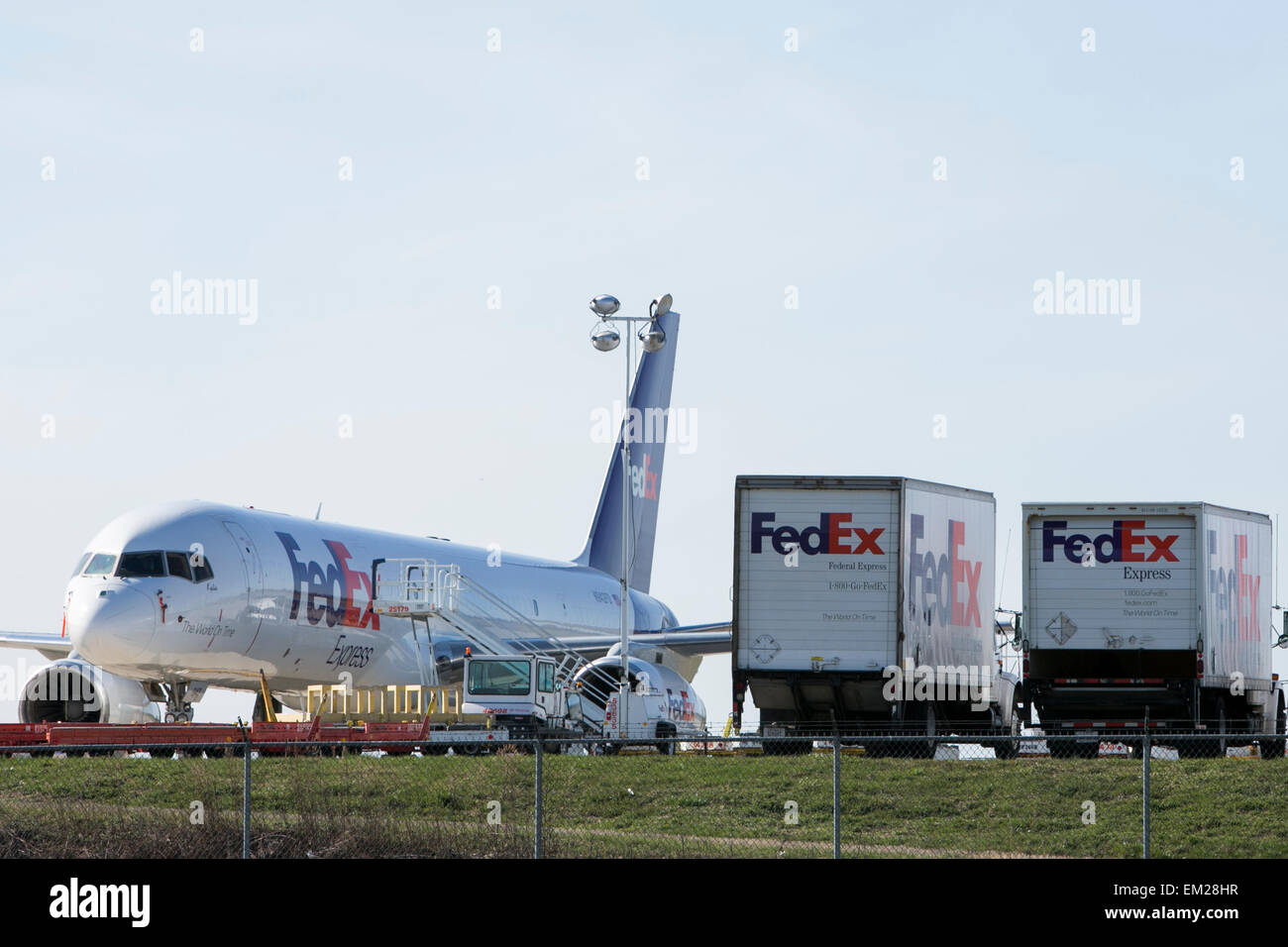 FedEx cargo planes at the Lehigh Valley International Airport in Allentown, Pennsylvania. - Stock Image