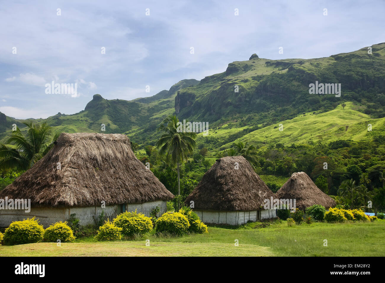 Traditional houses of Navala village, Viti Levu island, Fiji - Stock Image