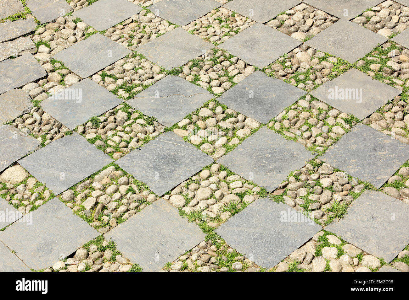 Texture of paving slabs, background. Everest region, Nepal. - Stock Image