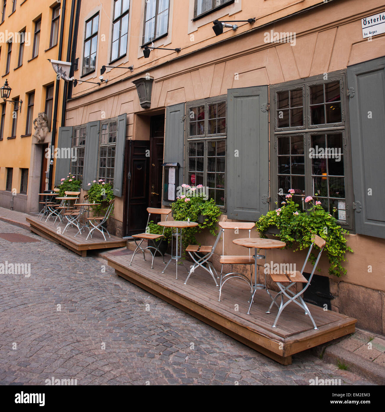 Small Tables And Chairs On A Patio Outside A Restaurant Stockholm