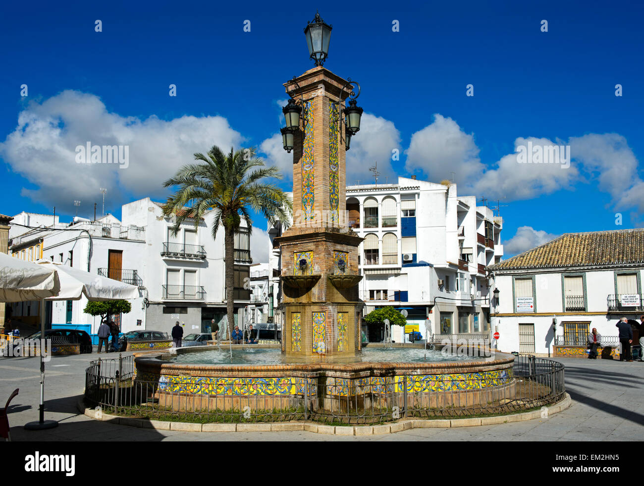 Central Square, fountain, Villa Martin, Andalucía, Spain - Stock Image