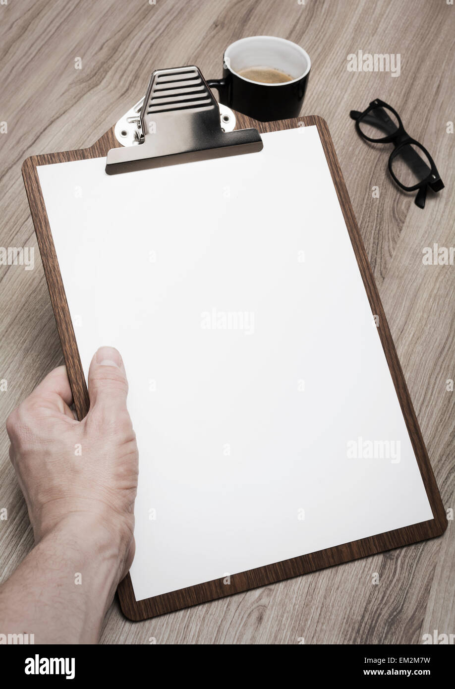 restaurant menu mockup on clipboard - Stock Image