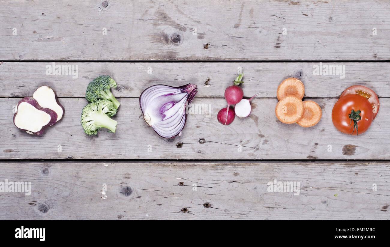 Organic vegetables hero header mockup - Stock Image