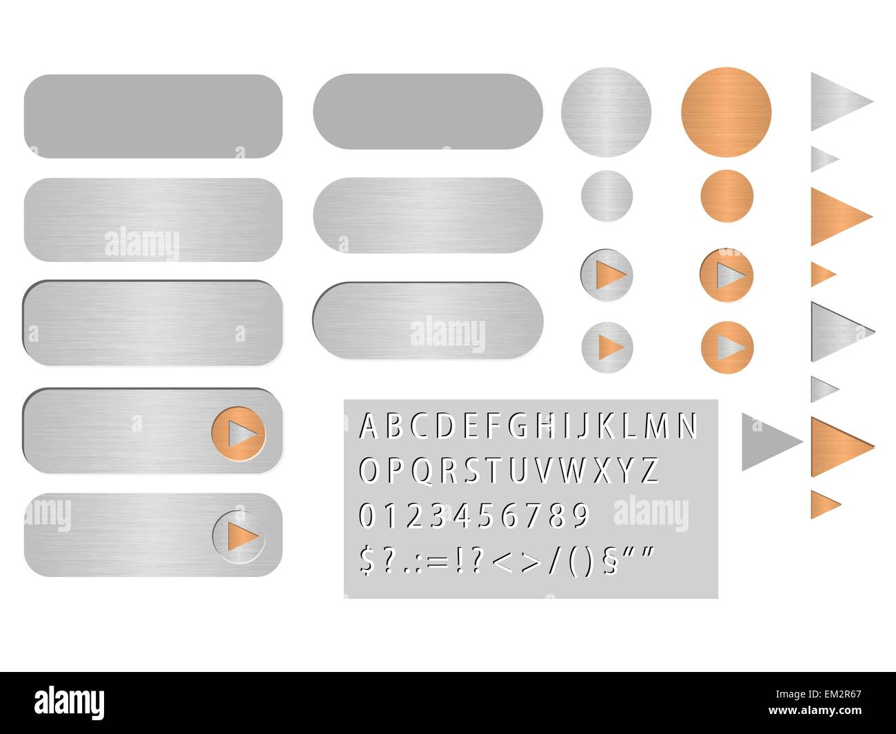 Set of the various vector buttons looks like polished steel - Stock Vector