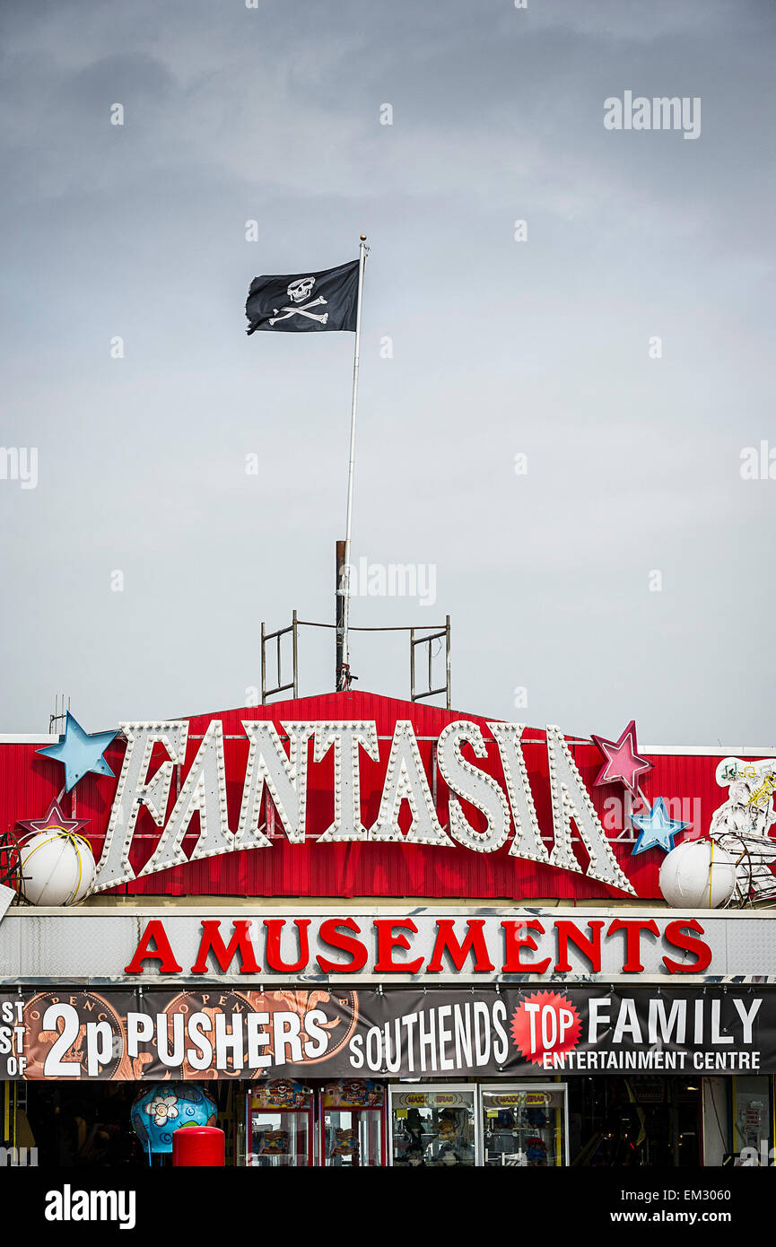An amusement arcade on Southend seafront in Essex. - Stock Image
