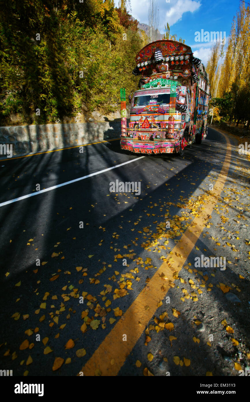 Beautiful Truck on highway - Stock Image