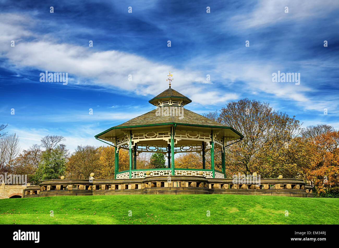 Bandstand in Greenhead park, Huddersfield, Yorkshire, England - Stock Image