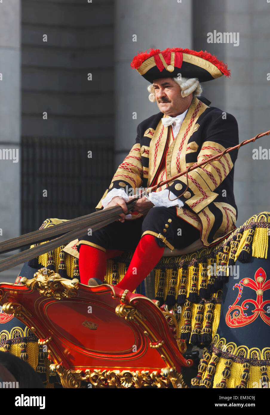 Coachman Of The Royal Palace; Madrid Spain - Stock Image