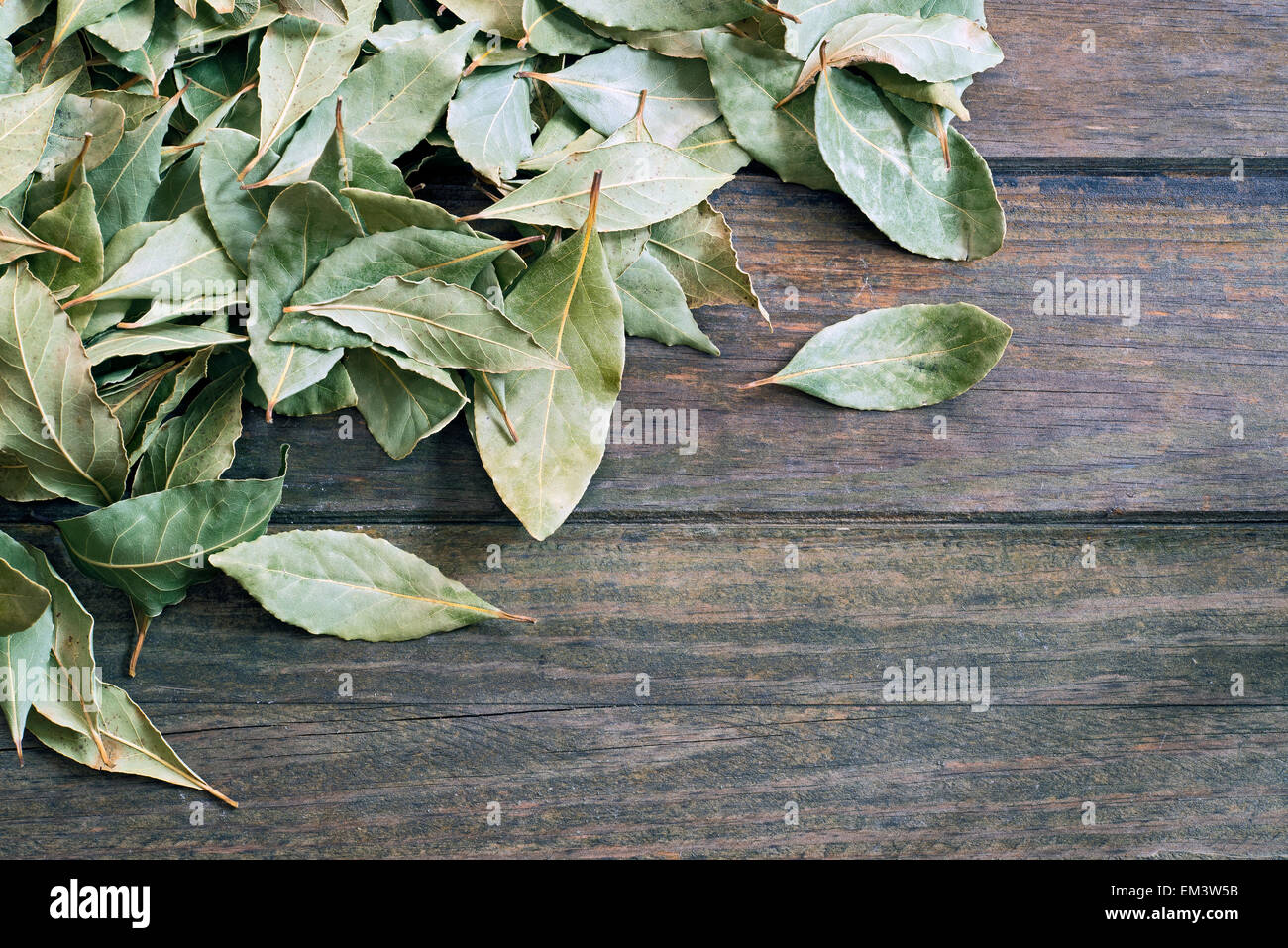 Arrangement of bay leaves over wooden table - Stock Image