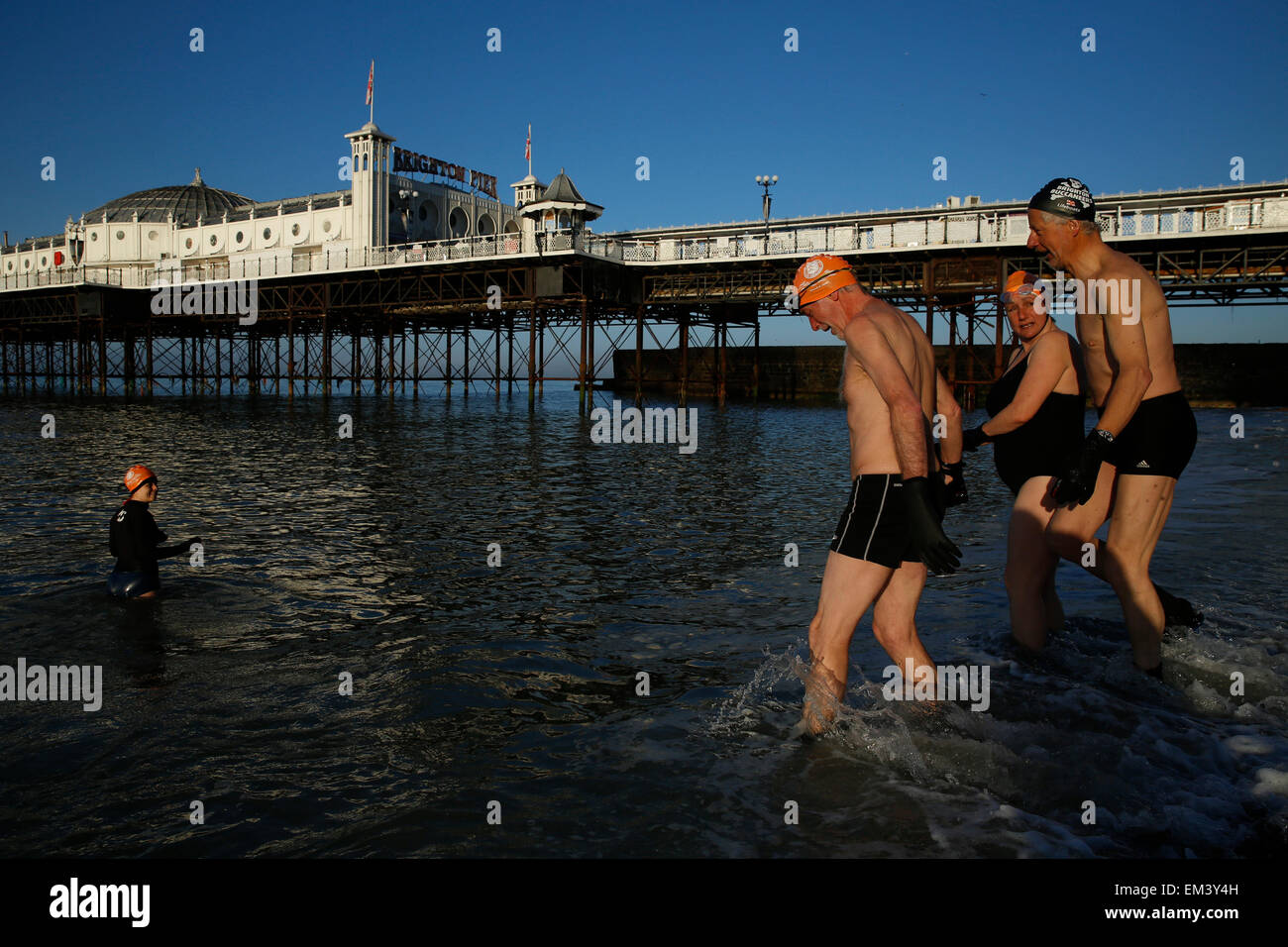 Members of Brighton Swimming Club wade into the sea before a morning swim in the sun by Brighton Pier in East Sussex - Stock Image