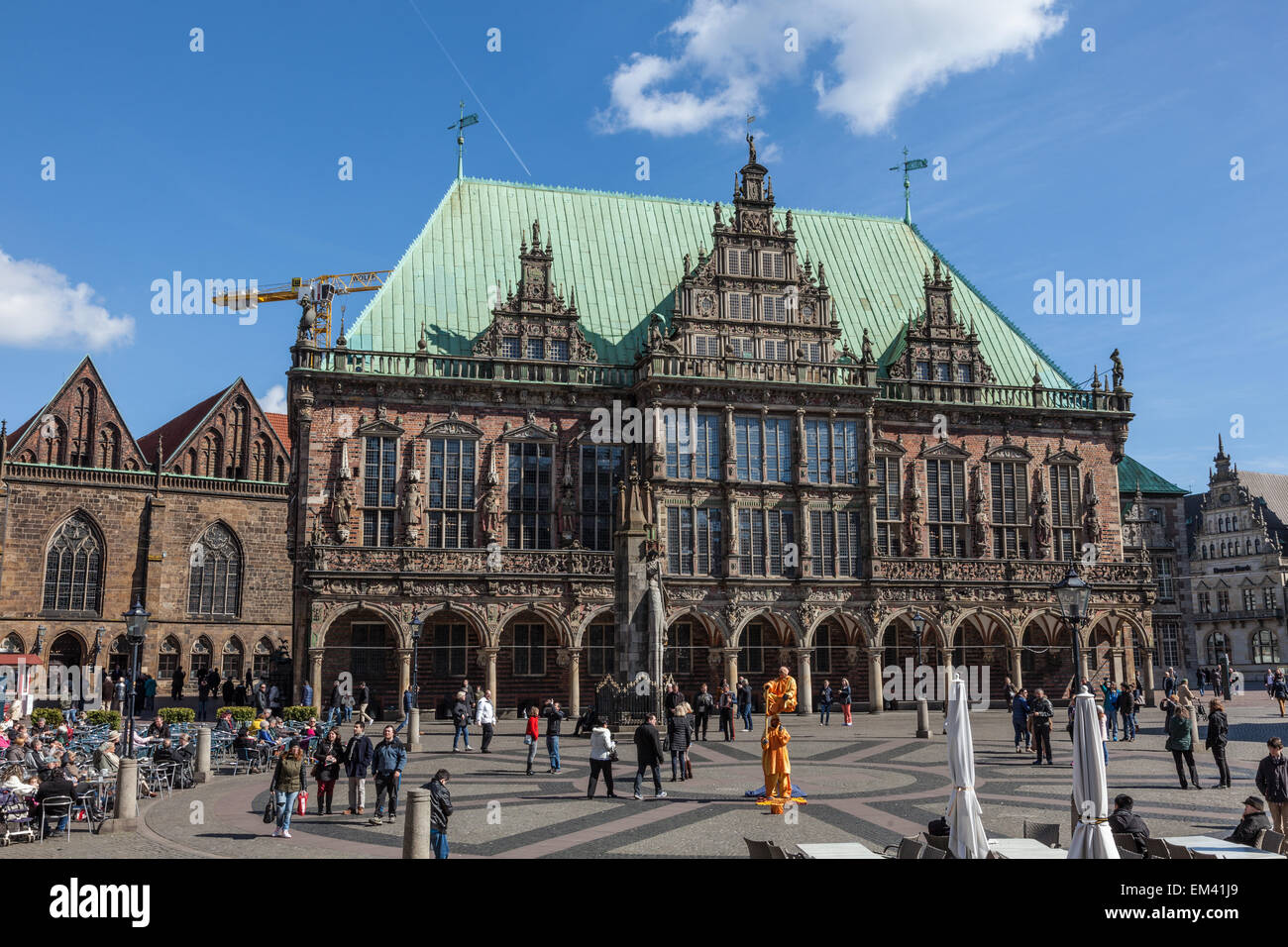 Historic city hall at the main square in Bremen, Germany - Stock Image