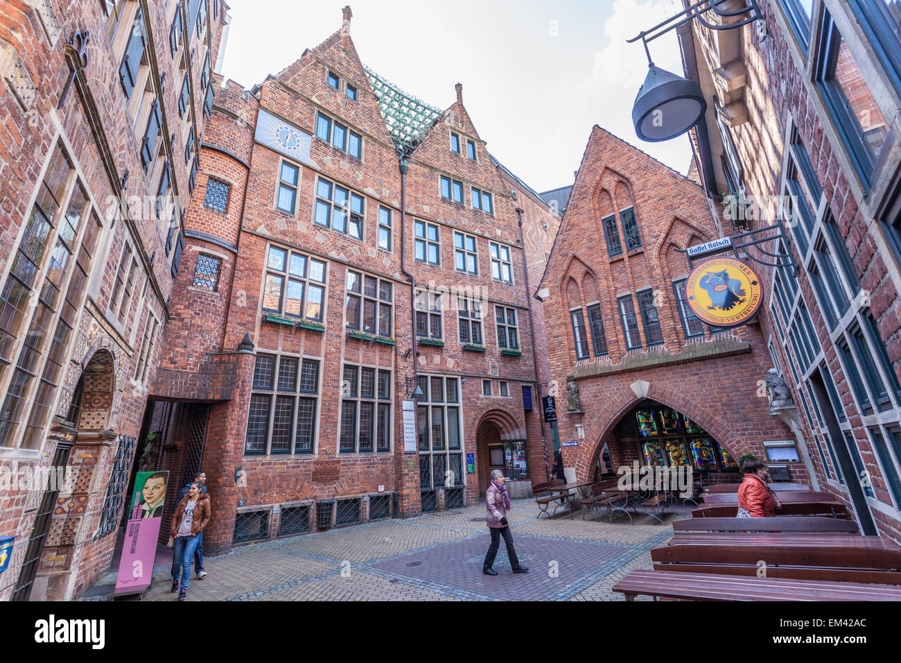 Brick buildings in historic Boettcher Street in the old town in Bremen, Germany Stock Photo