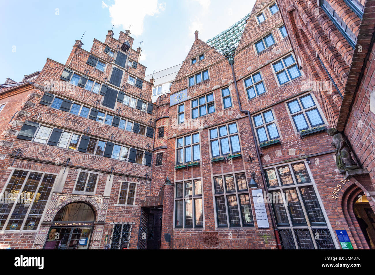 Brick buildings in historic Boettcher Street in the old town in Bremen, Germany - Stock Image