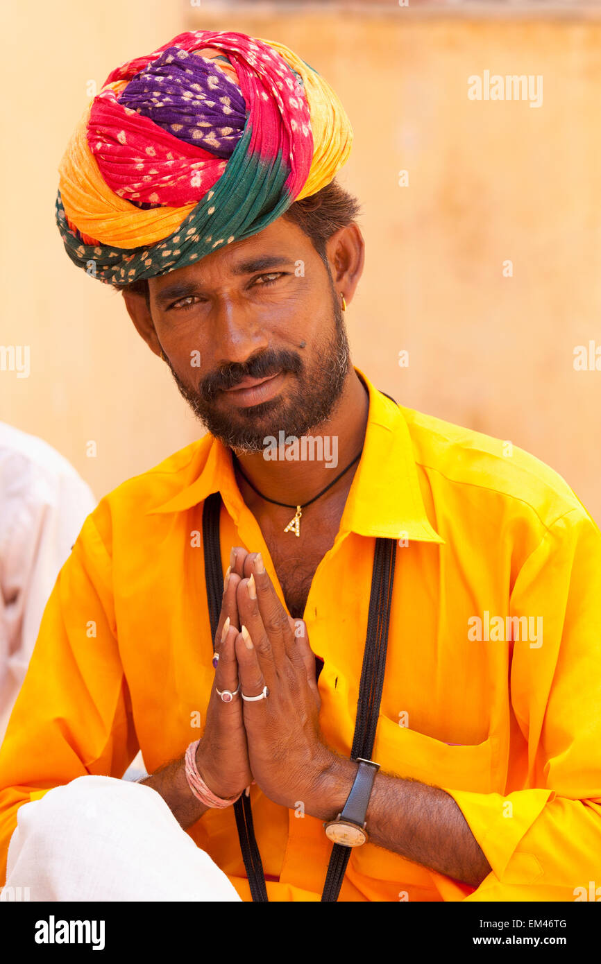 Greetings india stock photos greetings india stock images alamy a man with a colourful turban giving greetings jaipur rajasthan india stock image m4hsunfo