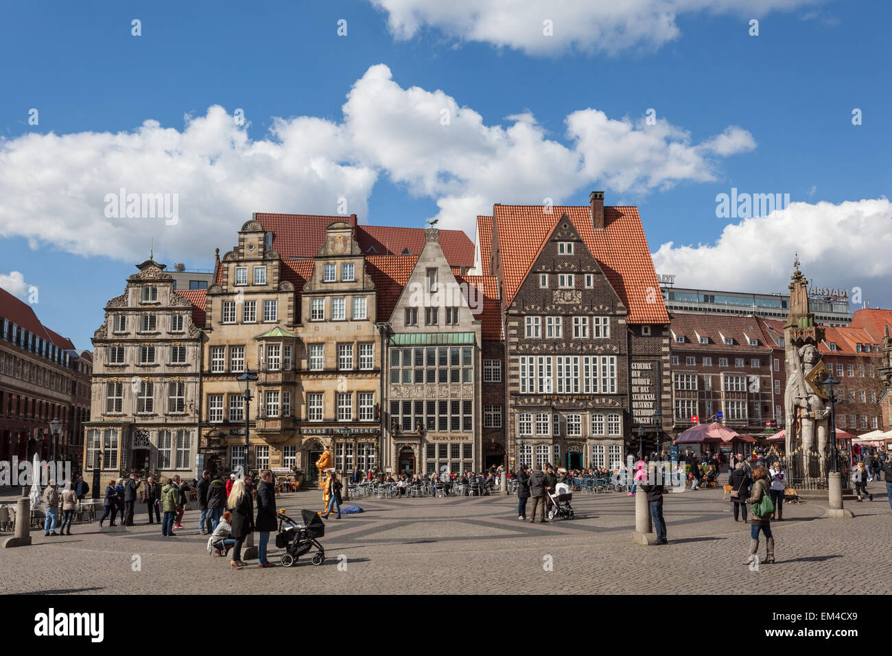 Main square in the old town of Bremen, Germany - Stock Image