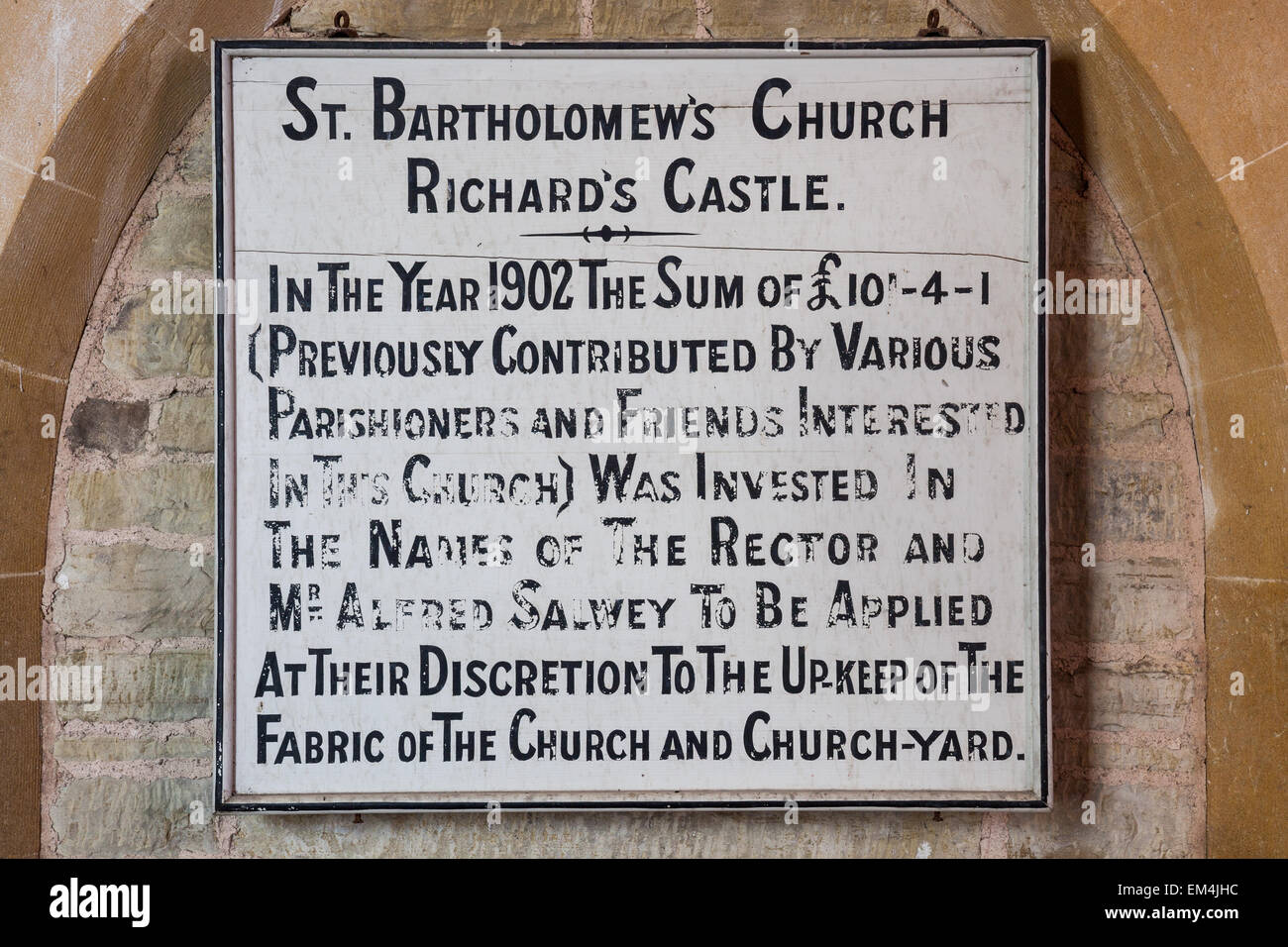Plaque inside St Bartholomew's Church, Richard's Castle, Herefordshire - Stock Image