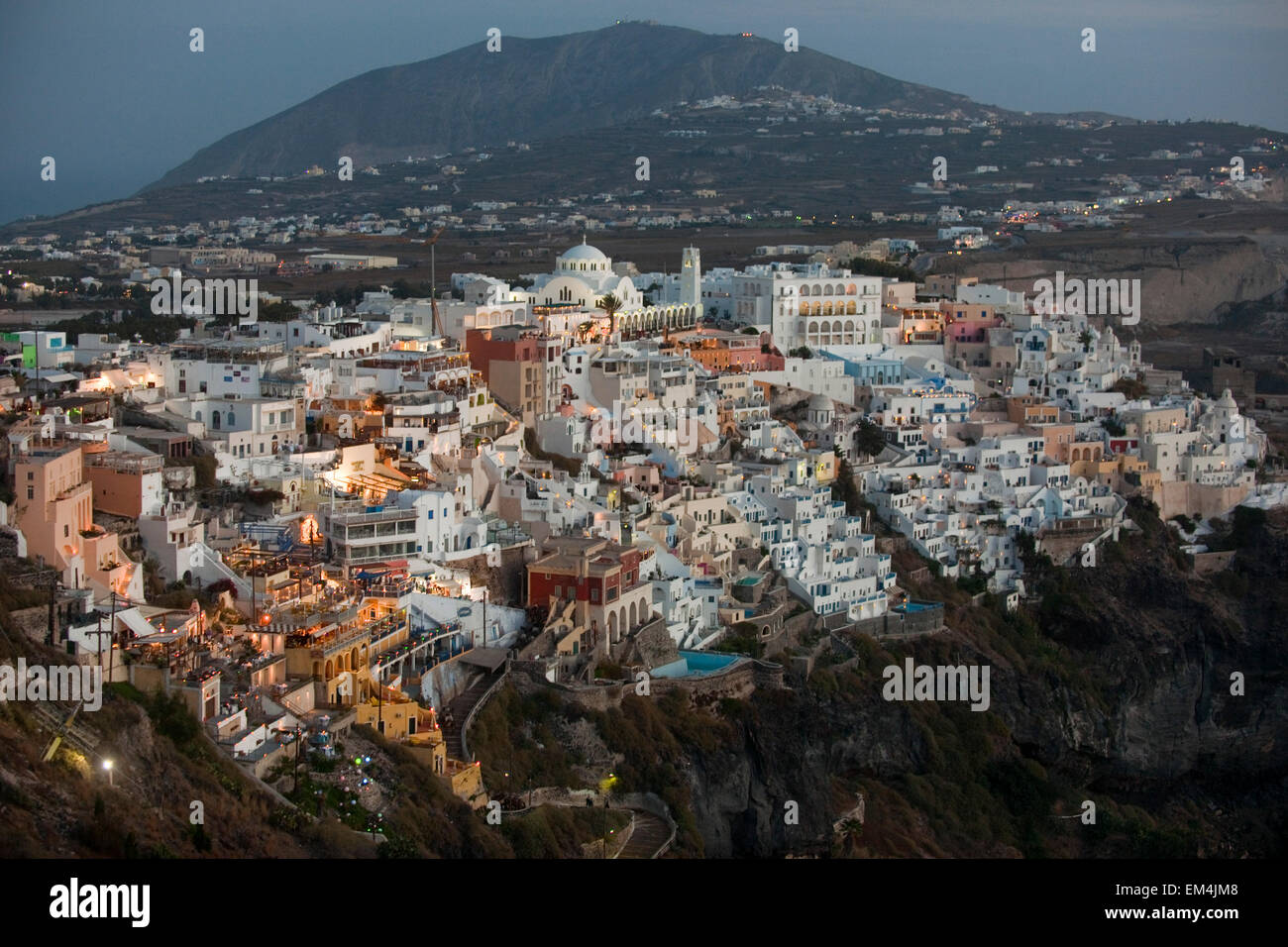 Griechenland, Kykladen, Santorini, Fira Stock Photo