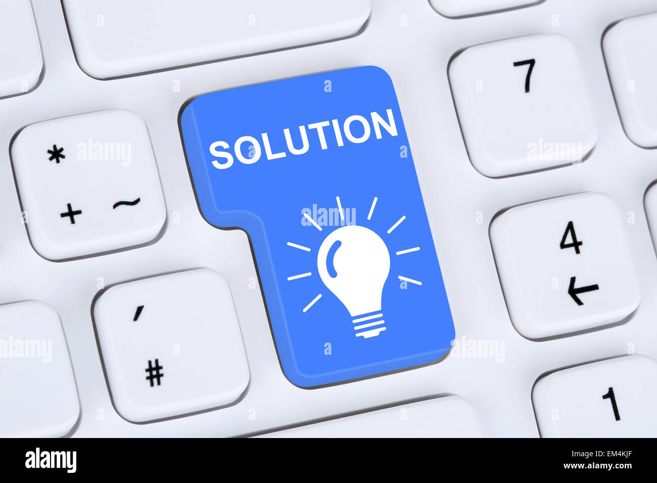 Finding solution for problem conflict button on internet computer - Stock Image