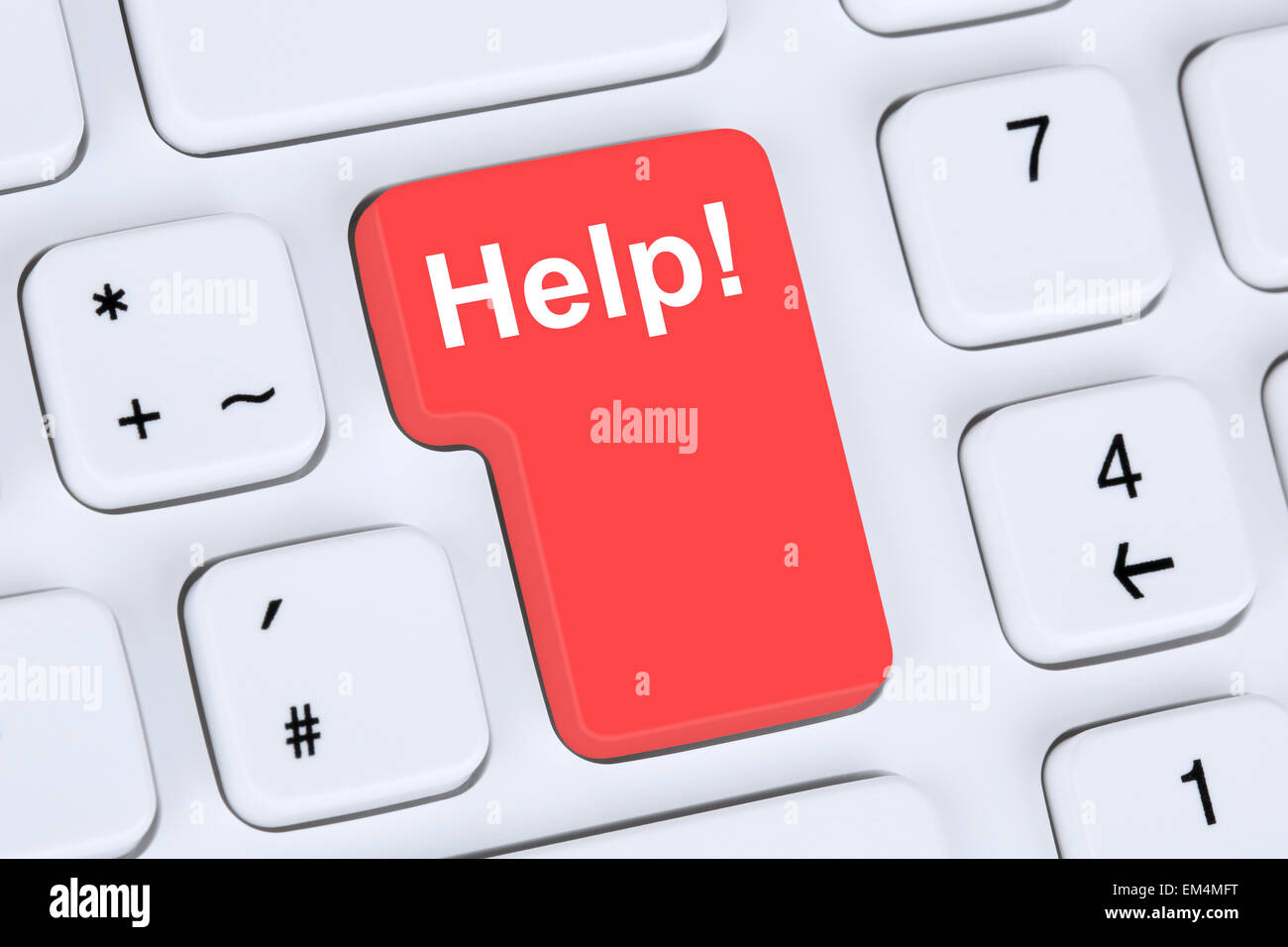 Help button for problem and solution with internet online computer - Stock Image
