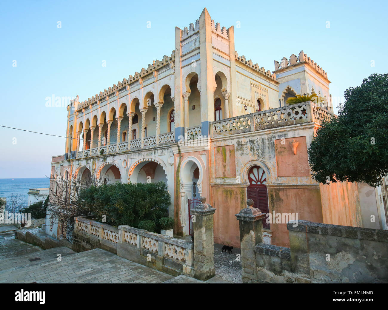 Villa Sticchi in Santa Cesarea Terme, created between 1894 and 1900 in the Moresque style at the Salento coast in - Stock Image