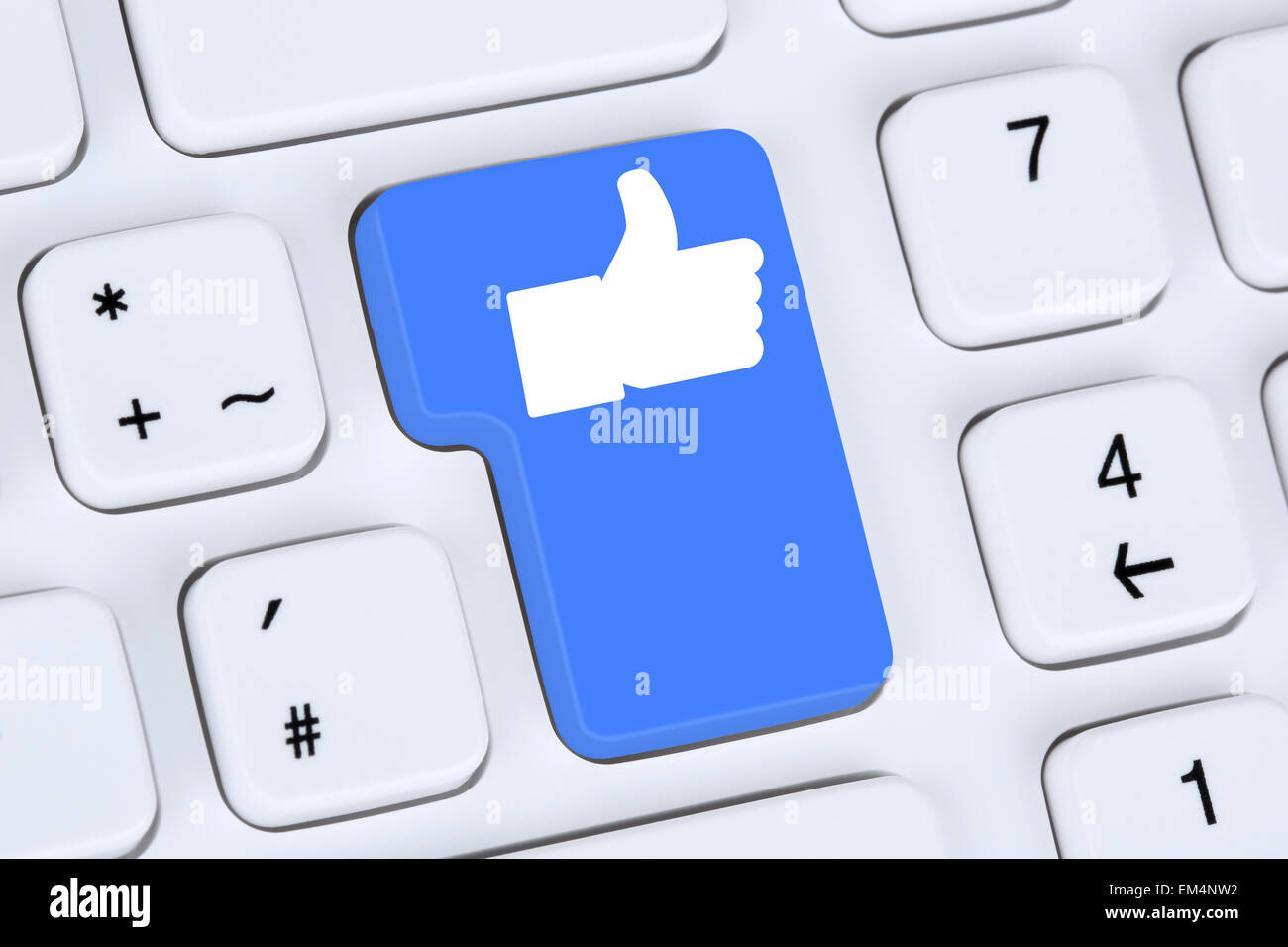 Like button icon symbol thumb up social media or network on internet computer keyboard - Stock Image