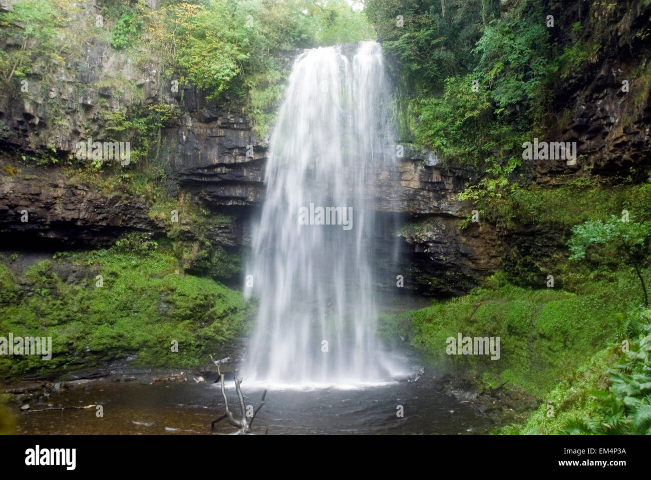 Waterfall Henrhyd Falls in Soutwales England Europe with longtime exposure Stock Photo