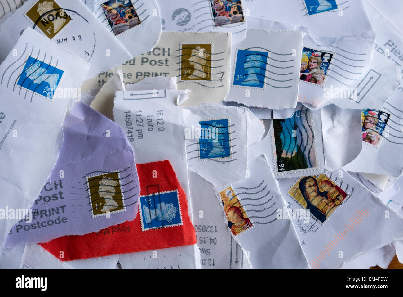 British postage stamps for recycling - Stock Image