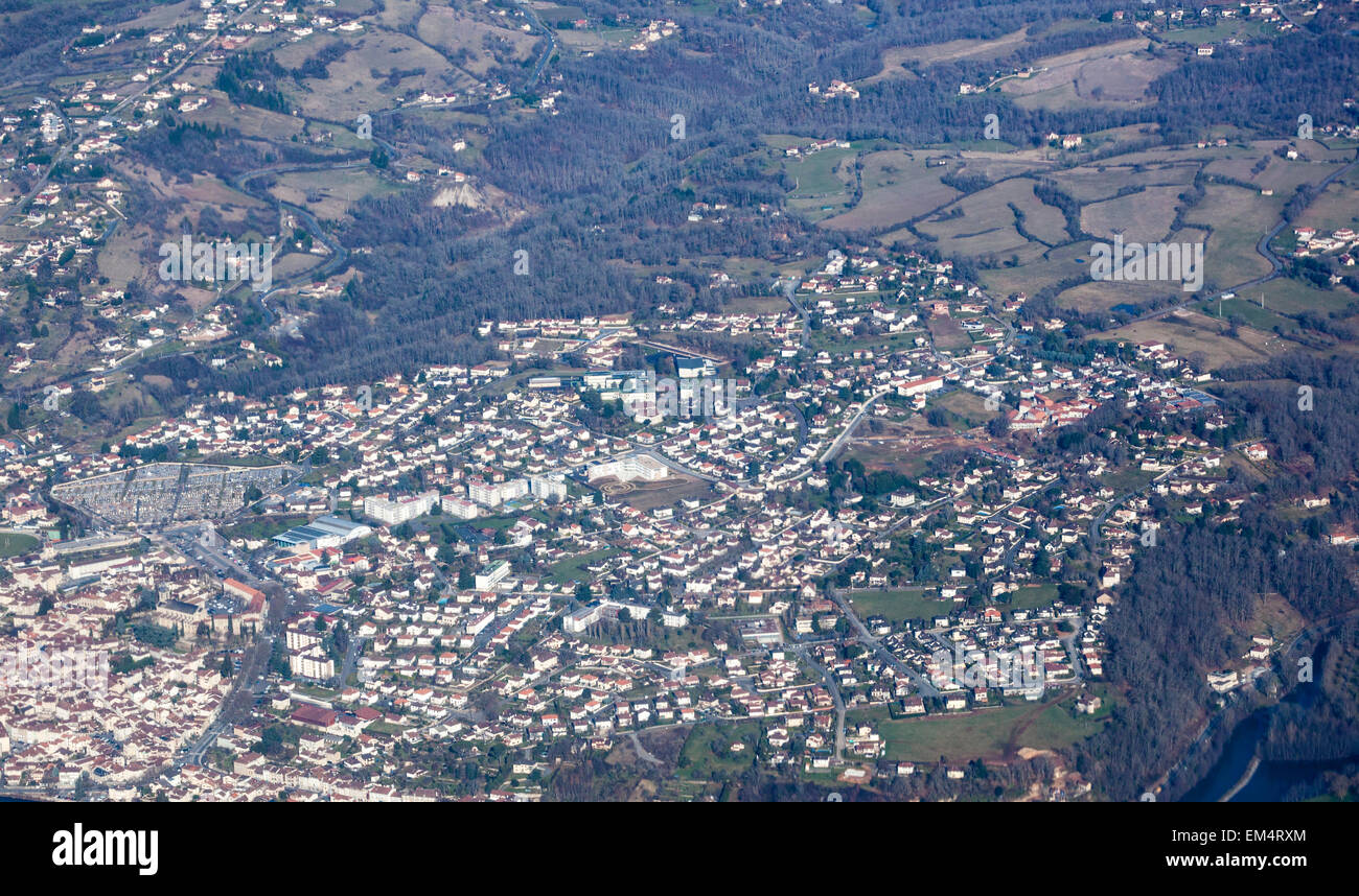 Aerial view of the French town Aurillac in the Massif Central in the departement Auvergne - Stock Image