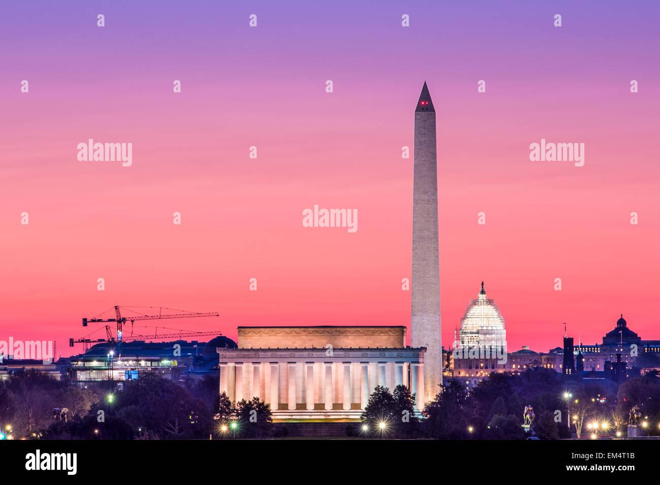 Washington, DC monument skyline. - Stock Image