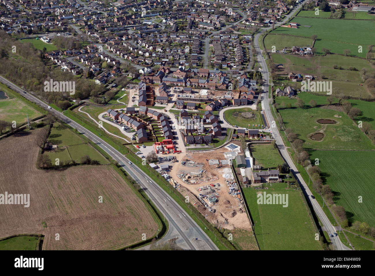 aerial view of new housing under construction in Cheshire, UK - Stock Image