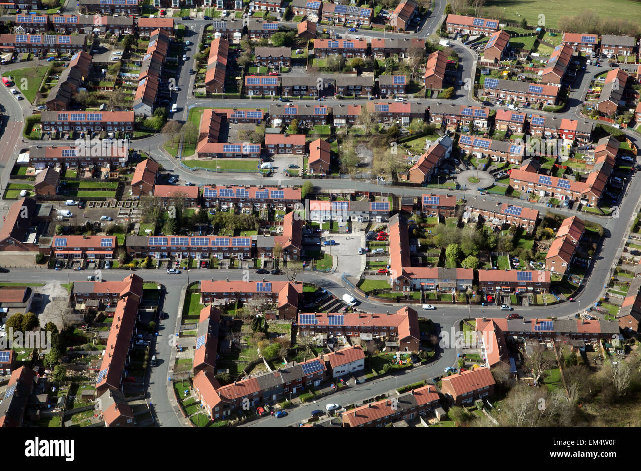 aerial view of UK housing with solar panels - Stock Image